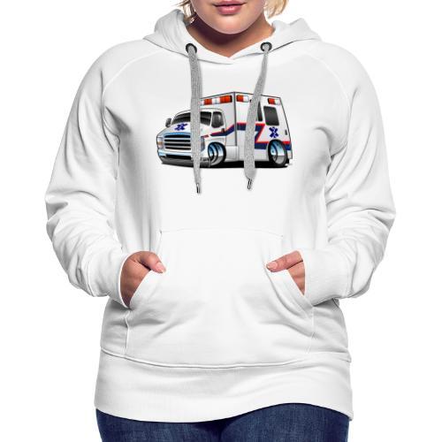 Paramedic EMT Ambulance Rescue Truck Cartoon - Women's Premium Hoodie