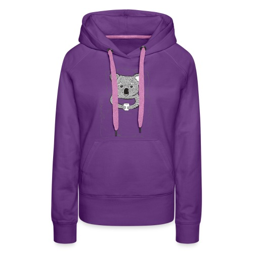 Print With Koala Lying In A Bed - Women's Premium Hoodie