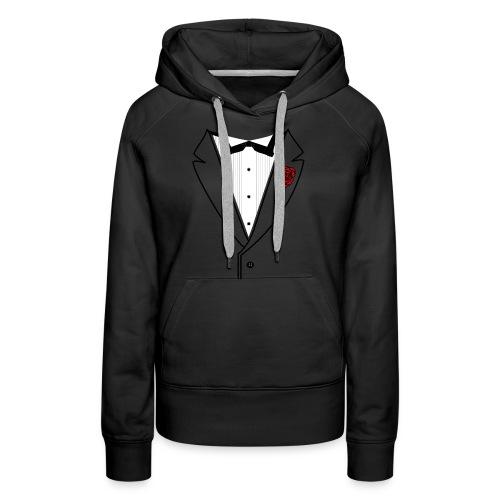Tuxedo w/Black Lined Lapel - Women's Premium Hoodie
