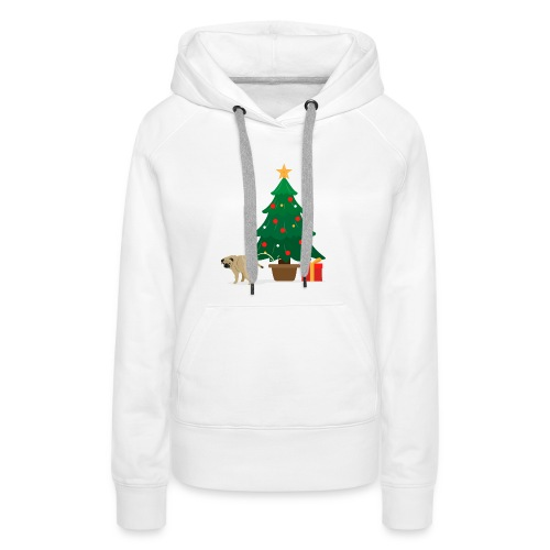 Pug and Gift under the Christmas Tree - Women's Premium Hoodie