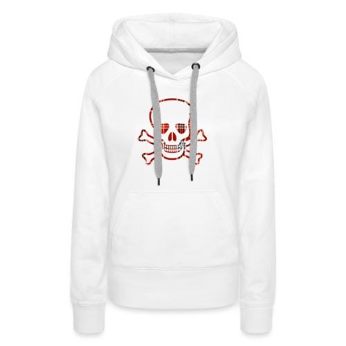 Skull & Cross Bones Red Plaid - Women's Premium Hoodie