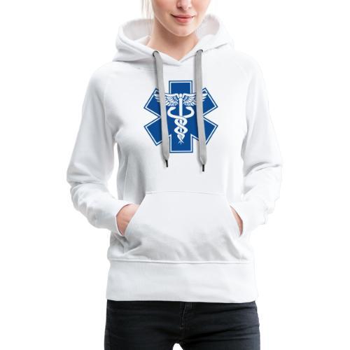 EMT Health Care Caduceus Blue Medical Symbol - Women's Premium Hoodie