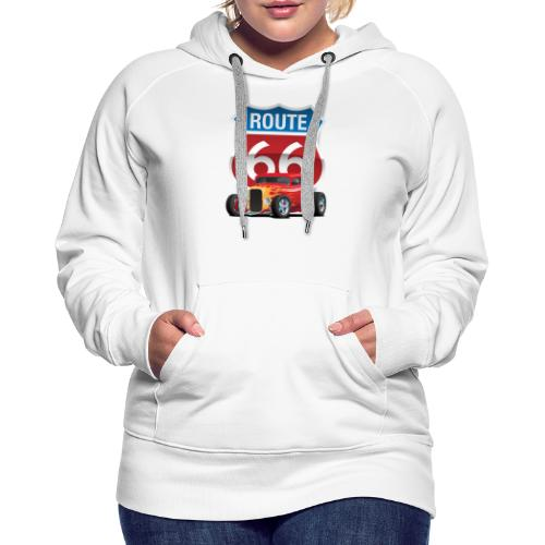 Route 66 Sign with Classic American Red Hotrod - Women's Premium Hoodie