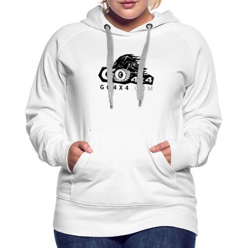 go bw white text black - Women's Premium Hoodie