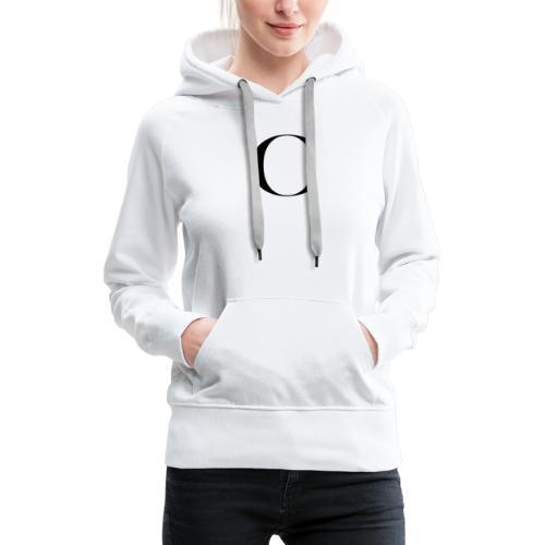 Large Cliche Magazine Black C Logo - Women's Premium Hoodie