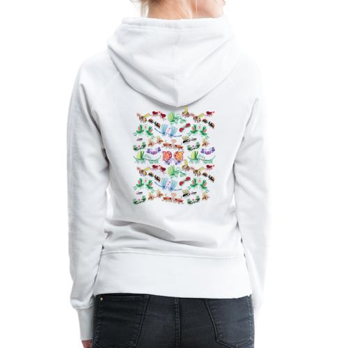 Funny insects falling in love in a pattern design - Women's Premium Hoodie