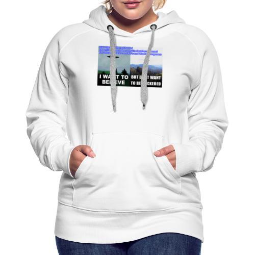tshirt i want to believe with back Crew Logo - Women's Premium Hoodie