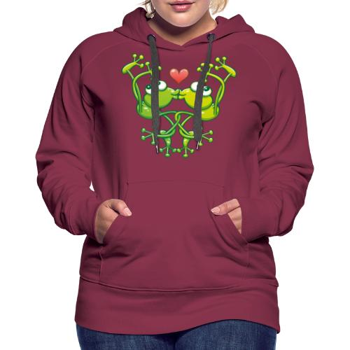 Frogs in love in choreography of jumps and kisses - Women's Premium Hoodie
