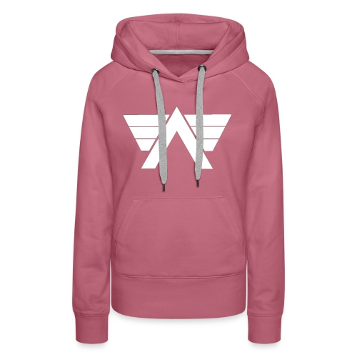 Bordeaux Sweater White AeRo Logo - Women's Premium Hoodie