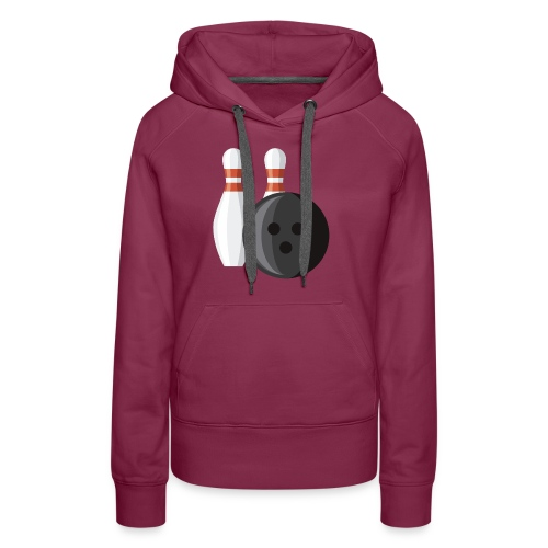 Bowling Ball and Pins - Women's Premium Hoodie