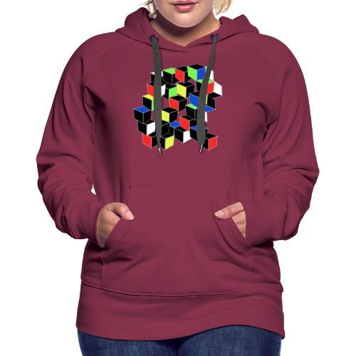 Optical Illusion Shirt - Cubes in 6 colors- Cubist - Women's Premium Hoodie