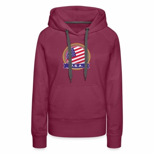U.S.A. Happy Holi Color Framed U.S.A. Flag Banner - Women's Premium Hoodie