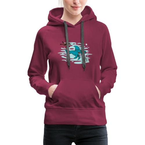 Wild shark feeling disgusted when seeing a diver - Women's Premium Hoodie