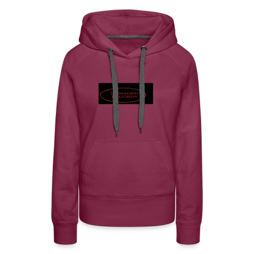 Damaged Records Red And Black Logo Sticker Hoodies - Women's Premium Hoodie