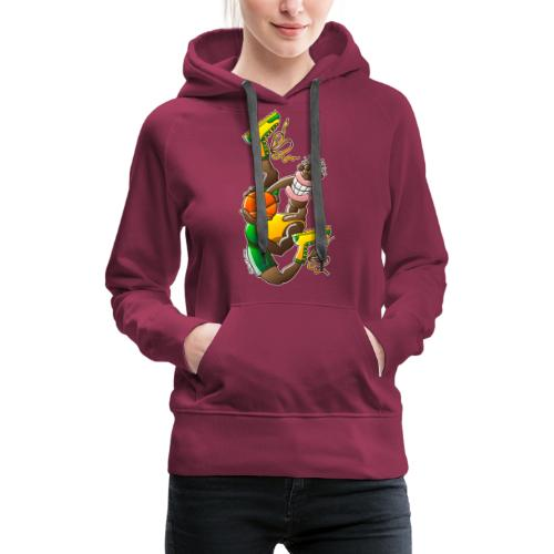 Acrobatic basketball player performing a high jump - Women's Premium Hoodie