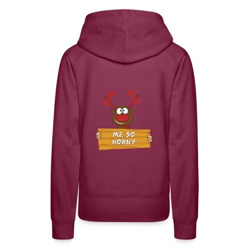 Red Christmas Horny Reindeer 3 - Women's Premium Hoodie