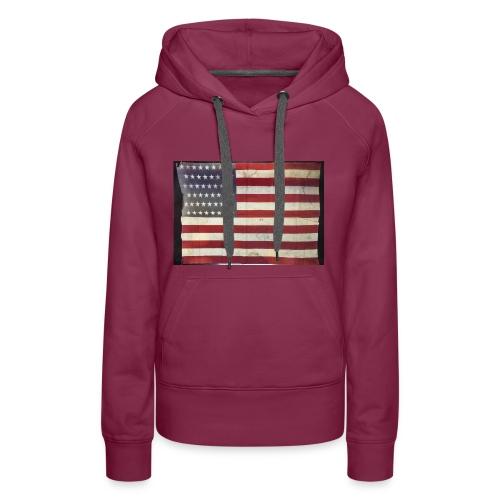 Distressed American Flag - Women's Premium Hoodie