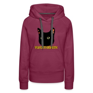 PunchTheEarth Cat with Text - Women's Premium Hoodie