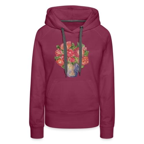 flowers, peonies, roses, vase, bouquet, freshness - Women's Premium Hoodie
