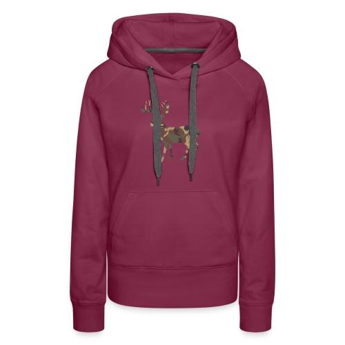 Distressed Camo Deer Silhouette T-Shirt - Women's Premium Hoodie