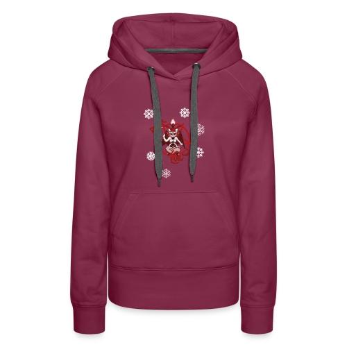 Purr evil Christmas pixel art cat - Women's Premium Hoodie