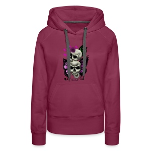 SKULLS WITH BUTTERFLIES AND DAISIES - Women's Premium Hoodie