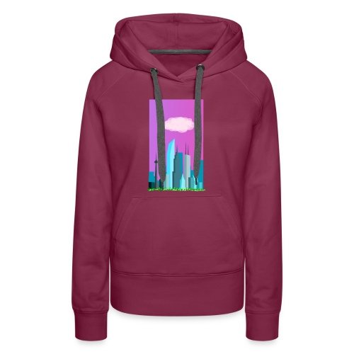 Cloudy evening city skyline - Women's Premium Hoodie