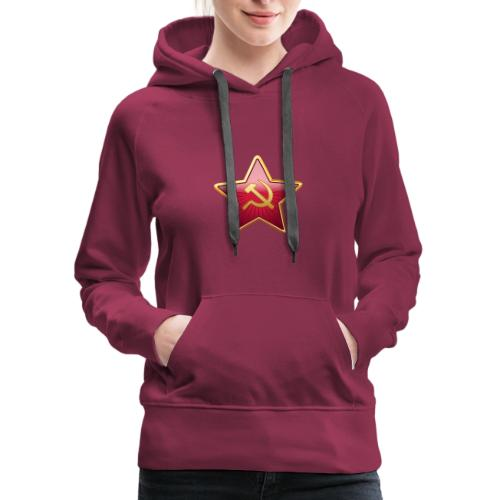 Red star with a sickle and a hammer - Women's Premium Hoodie