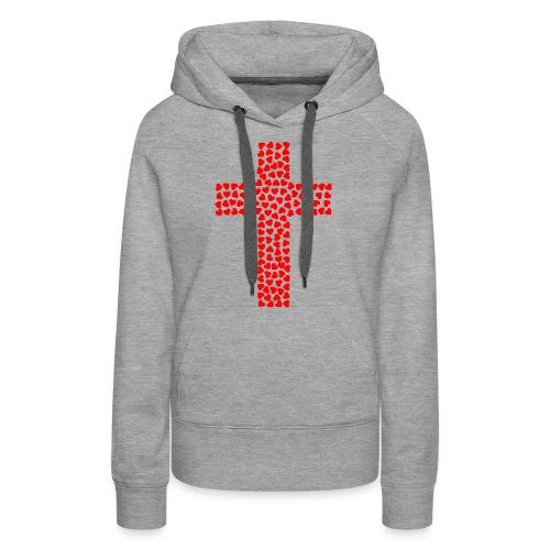 Cross with hearts - Women's Premium Hoodie