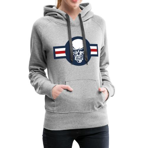 Military aircraft roundel emblem with skull - Women's Premium Hoodie