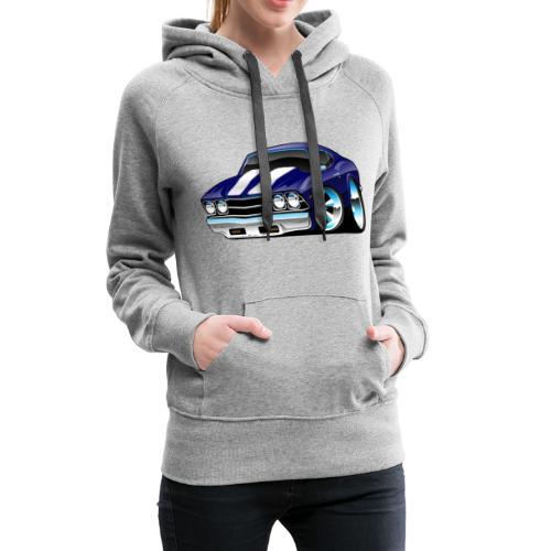 Classic American Muscle Car Cartoon - Women's Premium Hoodie