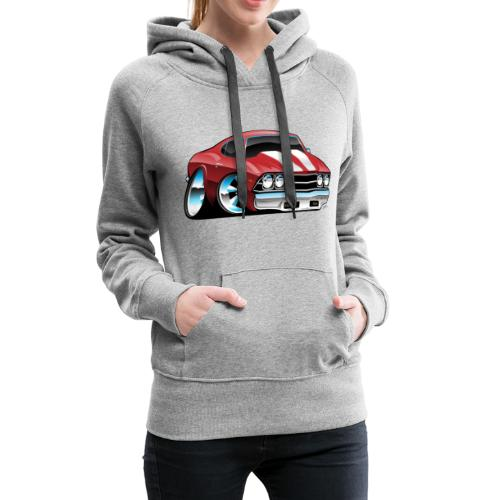 Classic American Muscle Car Cartoon - Women's Premium Hoodie