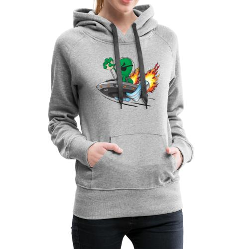 UFO Alien Hot Rod Cartoon Illustration - Women's Premium Hoodie