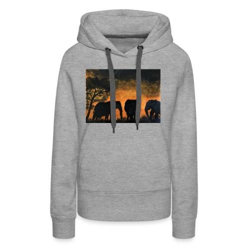 Elephants at sunset - Women's Premium Hoodie