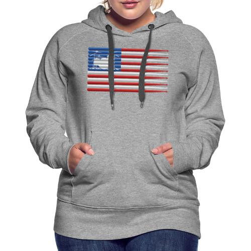 American Drummer Flag with Drum Kit and Sticks - Women's Premium Hoodie