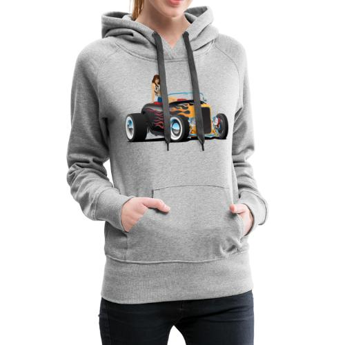 Custom Hot Rod Roadster Car with Flames and Sexy W - Women's Premium Hoodie