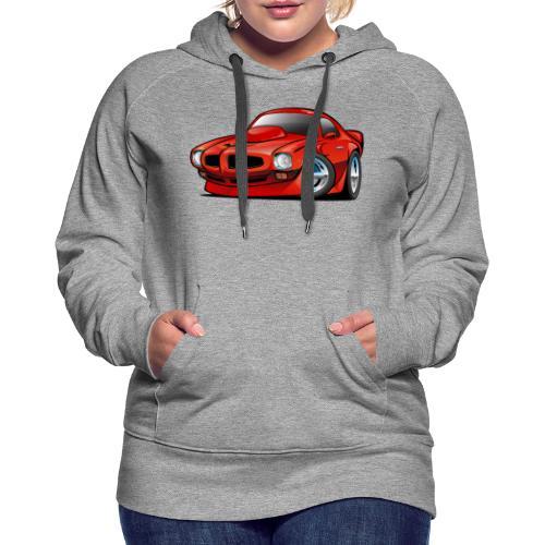 Classic Seventies American Muscle Car Cartoon - Women's Premium Hoodie