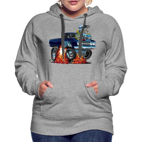 Classic Sixties Muscle Car Cartoon - Women's Premium Hoodie