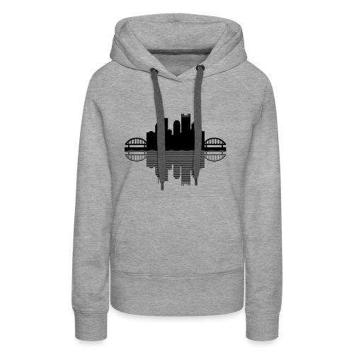 Pittsburgh Skyline Reflection (Black) - Women's Premium Hoodie