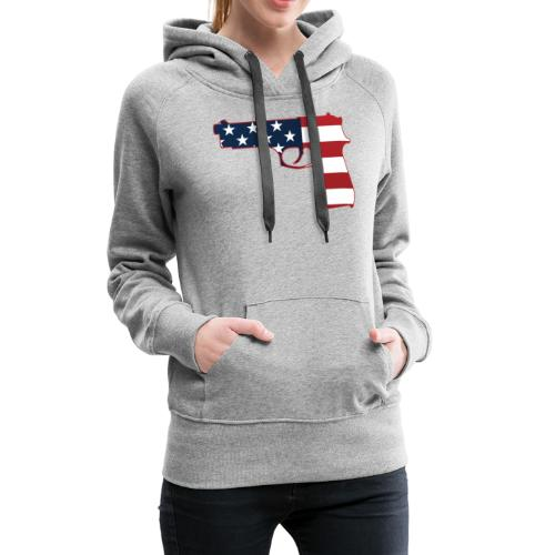Semi-automatic Stars & Stripes Handgun Silhouette - Women's Premium Hoodie