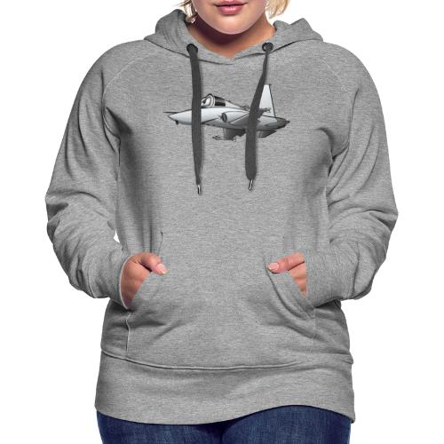 Military Fighter Jet Airplane Cartoon - Women's Premium Hoodie
