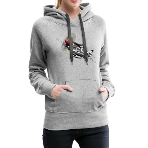 P-51 Mustang WWII Airplane Cartoon Illustration - Women's Premium Hoodie