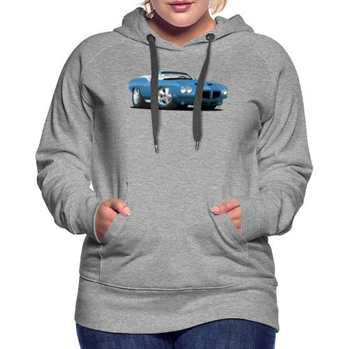 American Classic Seventies Convertible Car Cartoon - Women's Premium Hoodie
