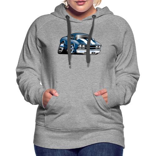 69 Muscle Car Cartoon - Women's Premium Hoodie