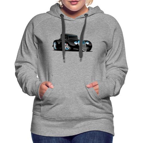 Black Hot Rod Classic Coupe Custom Car Cartoon - Women's Premium Hoodie