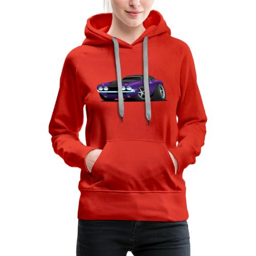 Classic Muscle Car Cartoon - Women's Premium Hoodie