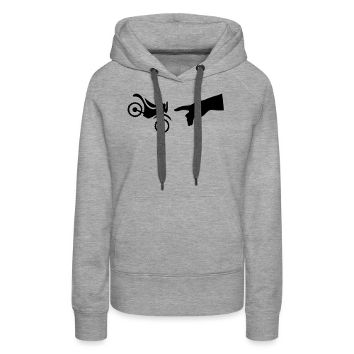 The hand of god brakes a motorcycle as an allegory - Women's Premium Hoodie