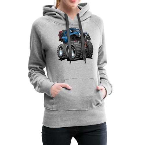 Off road 4x4 blue jeeper cartoon - Women's Premium Hoodie
