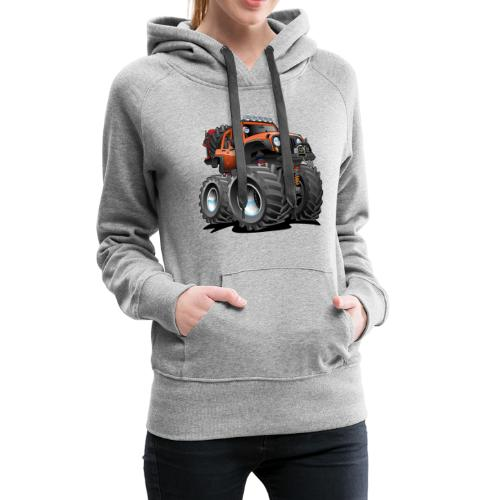 Off road 4x4 orange jeeper cartoon - Women's Premium Hoodie