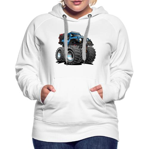 Off road 4x4 blue jeeper cartoon - Women's Premium Hoodie